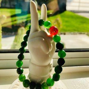 Jade Bracelet with Carnelian Centerpiece🐲✨